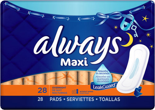 Always Maxi Overnight without Wings, Unscented Pads 28 Count