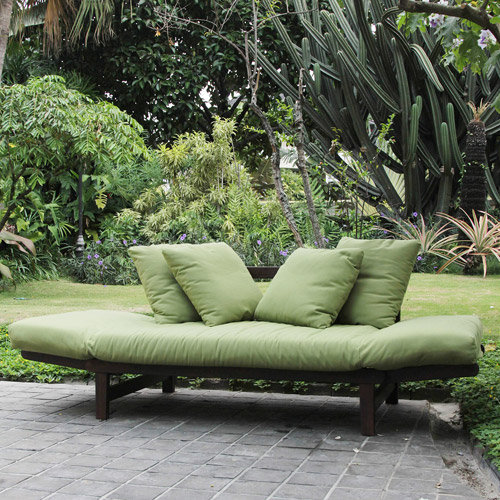 644794460857 Studio Converting Outdoor Sofa Brown With Green Cushions