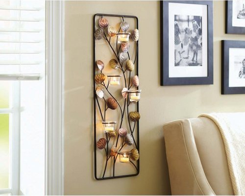 825564123398 Better Homes and Gardens Metal Clear Leaf Votive Wall Decor