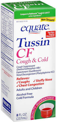 681131183970 Tussin Pe Cf Liq 8 Oz Equate Tussin Cf Cough Cold Non