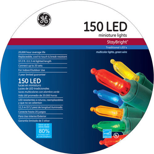 Ge Staybright Led Mini Multi Color Christmas Lights 150 Count
