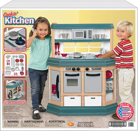 25217119406 American Plastic Toys Cookin Kitchen With 22 Accessories