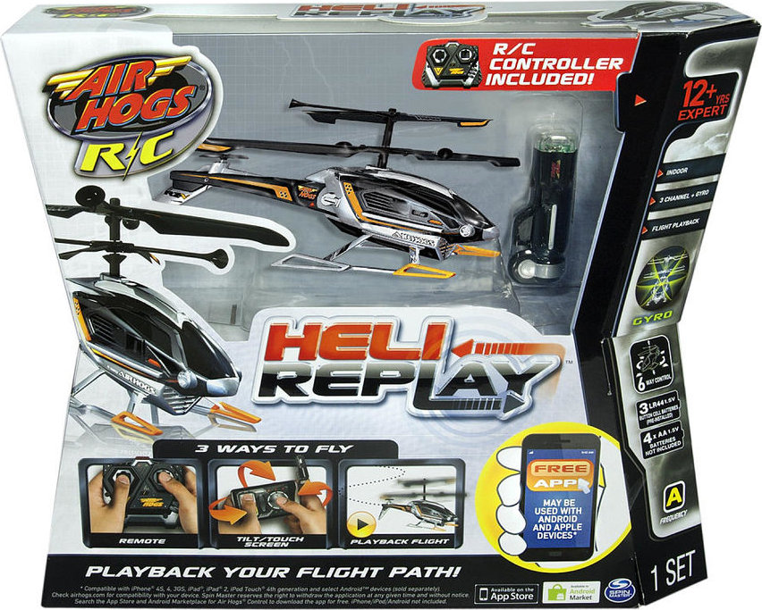778988001479 Air Hogs Heli Replay Radio Control Helicopter Black Silver Orange