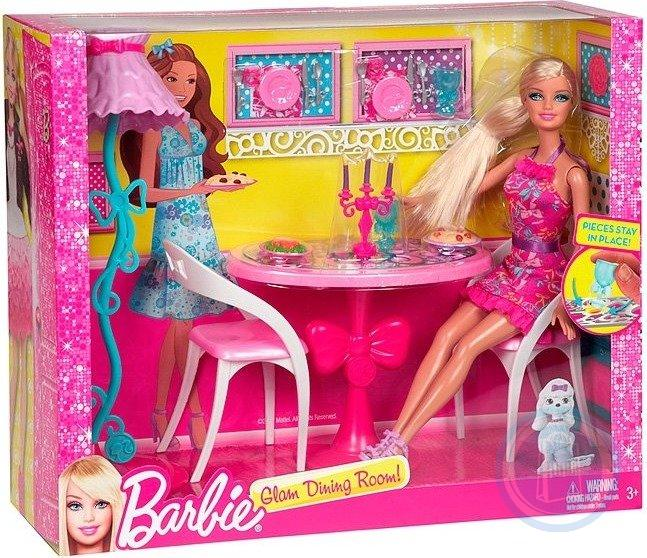 746775167745 barbie glam dining room furniture and doll