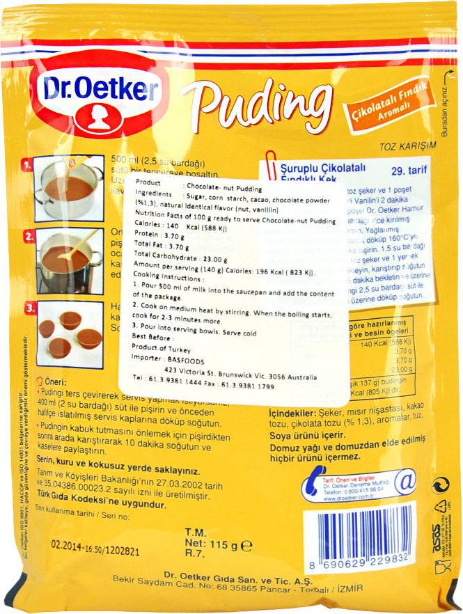 8690629229832 Dr Oetker Chocolate Nut Pudding 115g Cikolatali
