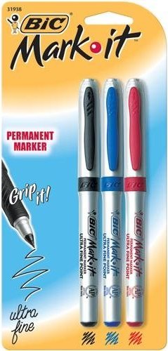 70330319387 Bic Mark It Permanent Markers Ultra Fine Point 3