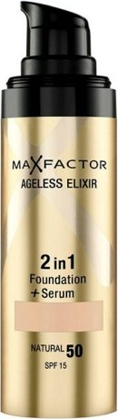 Max Factor Ageless Elixir 2 in 1 Foundation Plus Serum SPF 15, No.40 Light Ivory, 1 Ounce