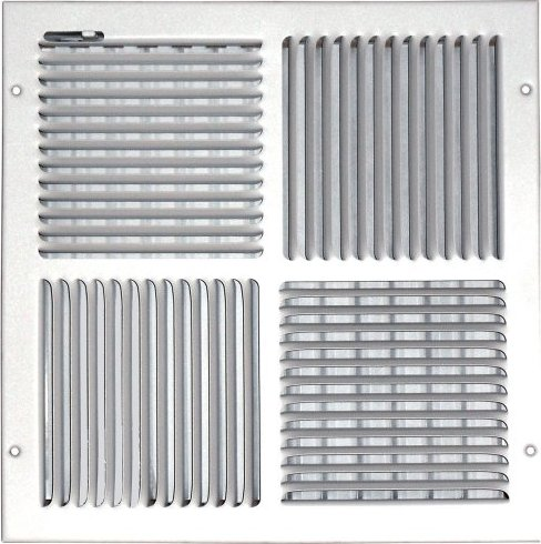 Speedi-Grille SG-1212 CW4 12-Inch by 12-Inch White Ceiling/Sidewall Vent  Register with 4 Way Deflection