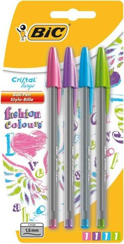 4 Pack Bic Cristal Large Fashion Colours Ballpoint Pens, 1 6mm Point Tip  Ball Biro Pens: Pink, Purple, Turquoise/Blue, Lime/Green Blister