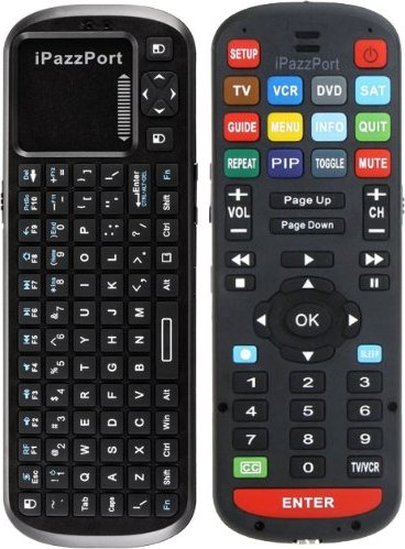 iPazzPort™ Apache Universal 2 4Ghz RF Mini Wireless Keyboard and Universal  Learning IR Remote Control for Multiple A/V Devices: TV, DVD, BluRay,