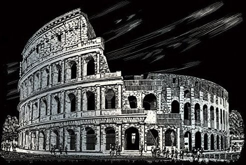 ROYAL BRUSH Silver Foil Engraving Art Kit 8-Inch by 10-Inch Colosseum