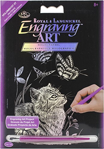 Royal Brush Rainbow Foil Engraving Art Kit 8-Inch by 10-Inch Kitten and Butterflies